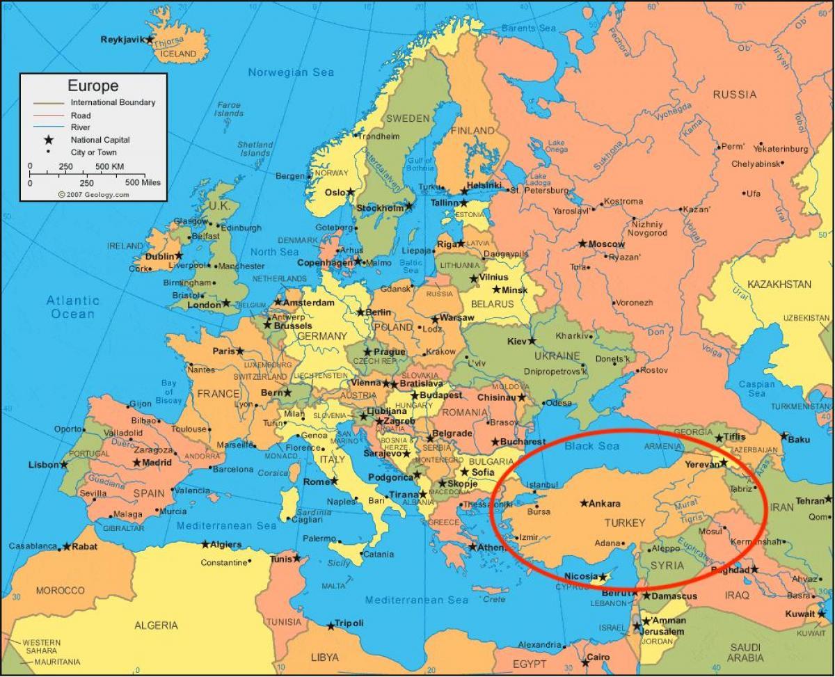 Cartina Mondo Turchia.Turchia Mappa Europa Mappa Della Turchia In Europa Occidentale Asia Asia